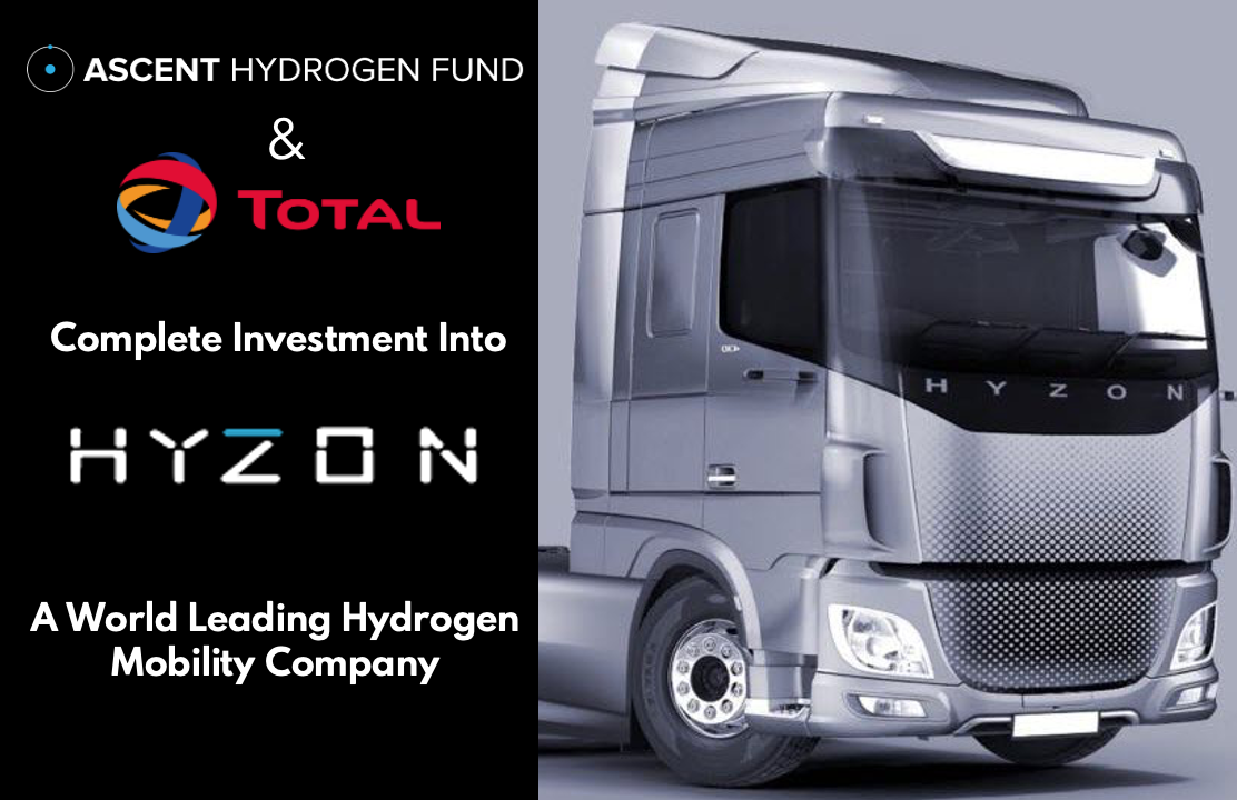 Ascent Hydrogen Fund completes investment into Hyzon Motors alongside Total